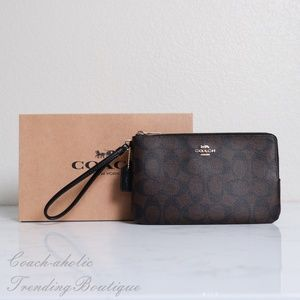 NWT Coach Double Zip Wallet in Signature Canvas